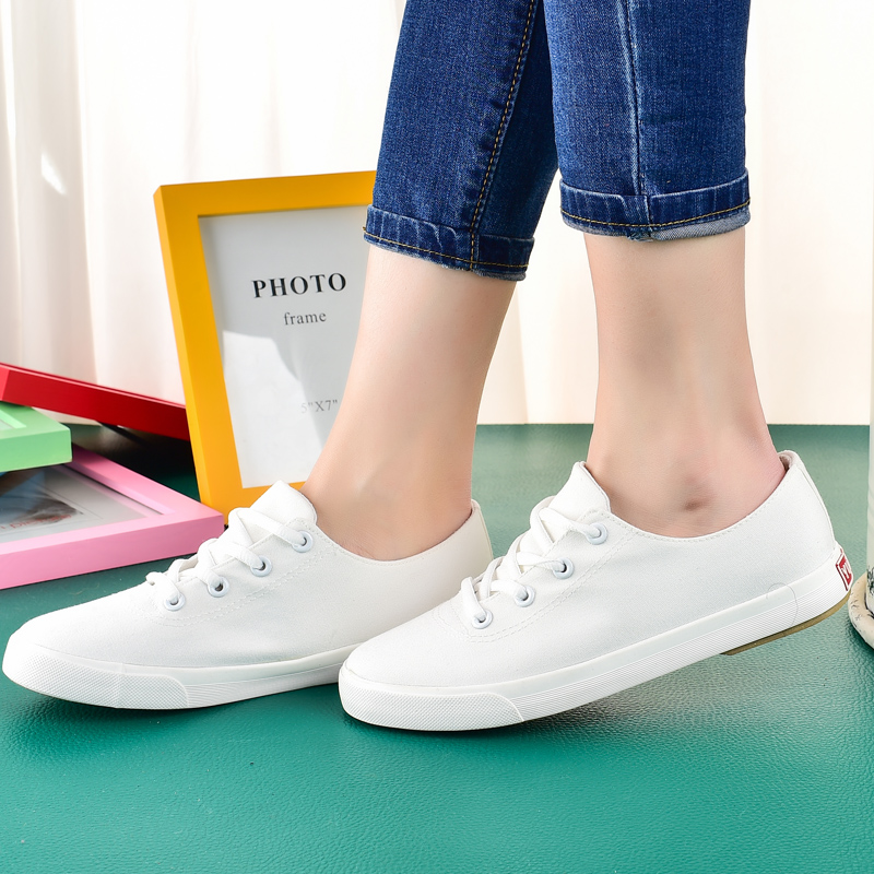 Step away free shipping korean version of white shoes 2016 spring models sport pure white canvas shoes muffin female low to help women shoes
