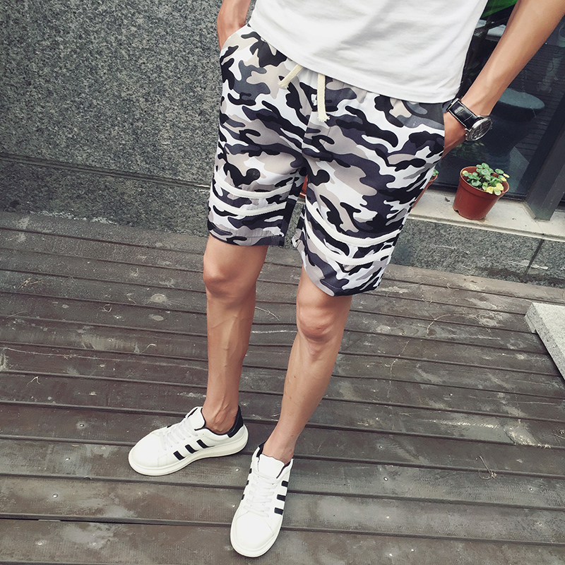 Step street 2016 summer camouflage shorts male uniforms slim 5 pants male korean version of casual pants fifth