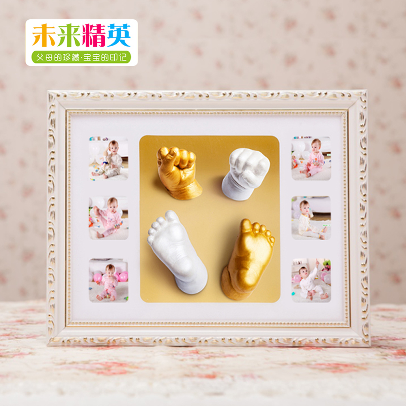 Stereo hands clone shoumo hand inkpad baby hand and foot prints baby souvenir photo frame kit gold hand foot