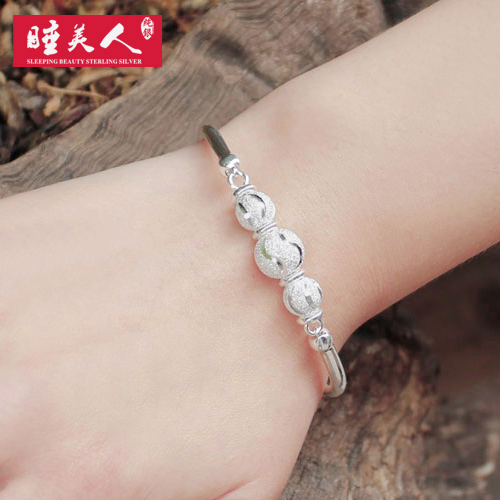 Sterling silver bracelet female 999 fine silver beads transit ms. korean version of the simple bell silver beads silver beads to send his girlfriend