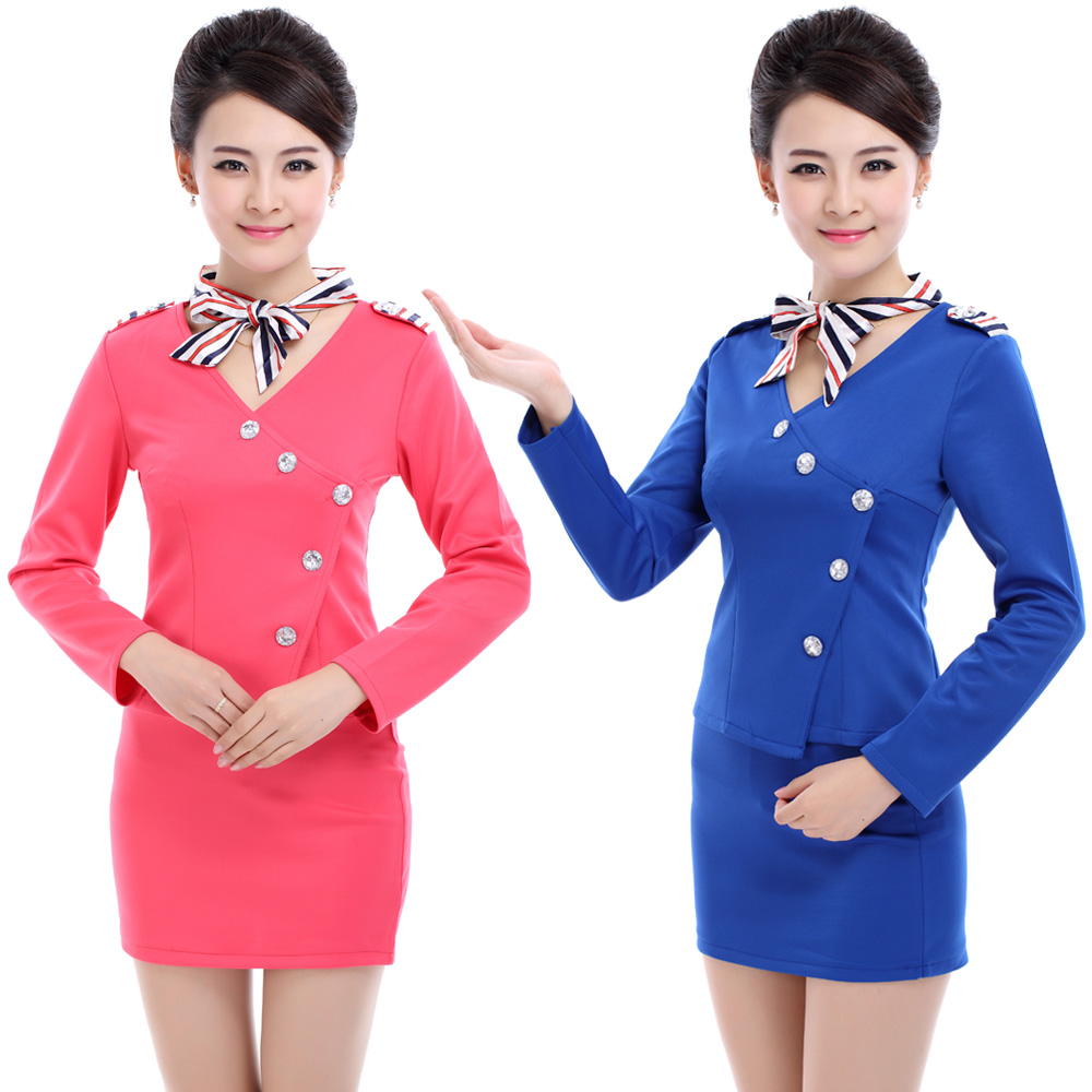Stewardess uniforms career suits ktv attendant uniforms hotel reception foreman cashier sleeved uniforms fall and winter clothes