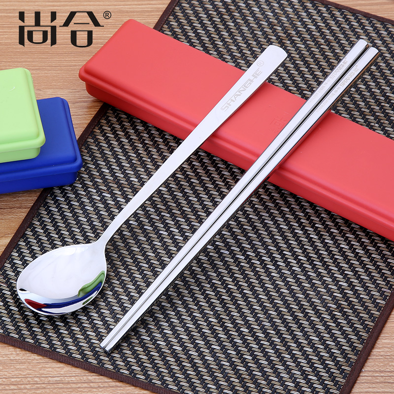 Still together 304 portable stainless steel tableware korean flat chopsticks spoon suit student travel portable kit