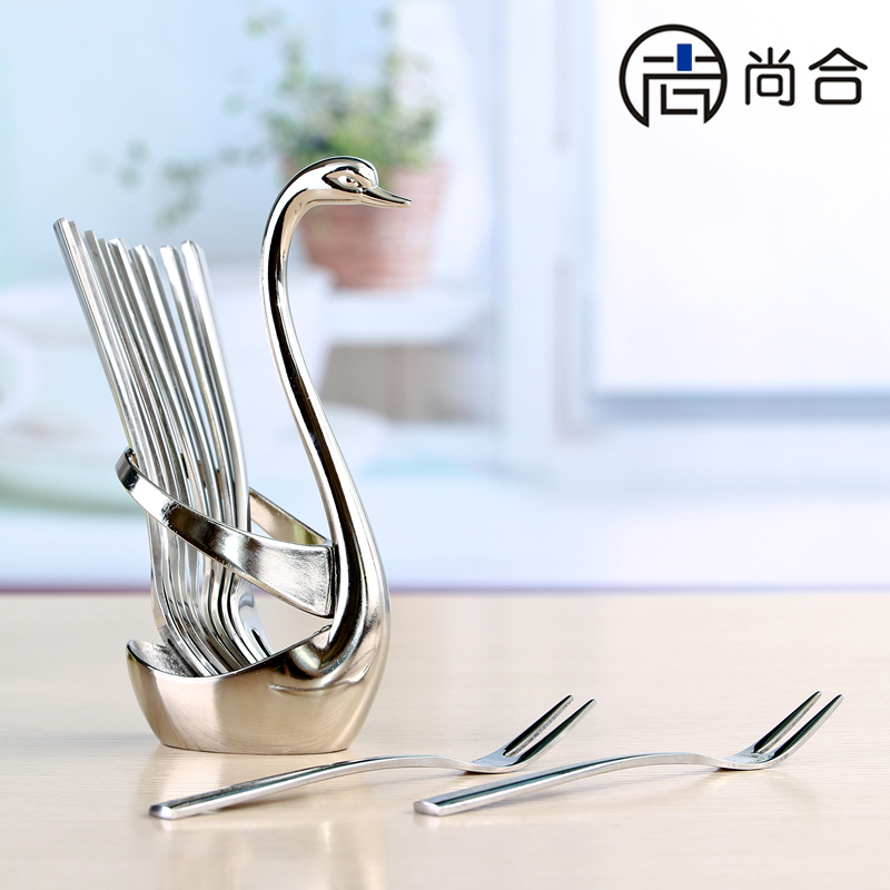 Still together 304 stainless steel coffee spoon fashion creative fruit fork meat fork fruit signed cygnus suit