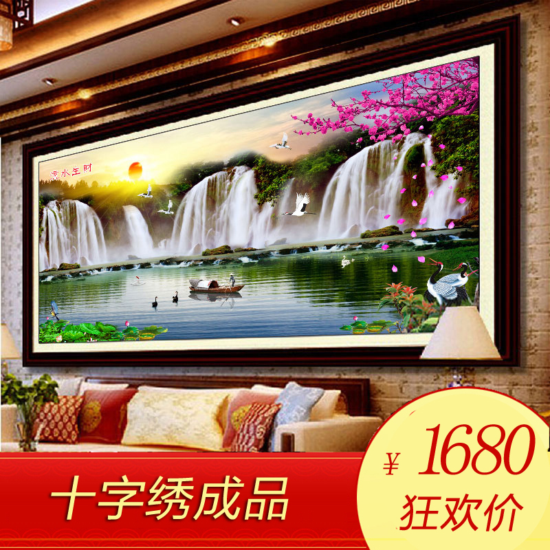 Stitch handmade finished cross stitch new living room caiyunhengtong making money flowing landscape painting