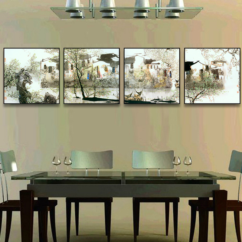 Stone chinese ink painting style paintings framed painting decorative painting the living room dining room den jiangnan quadruple wall paintings