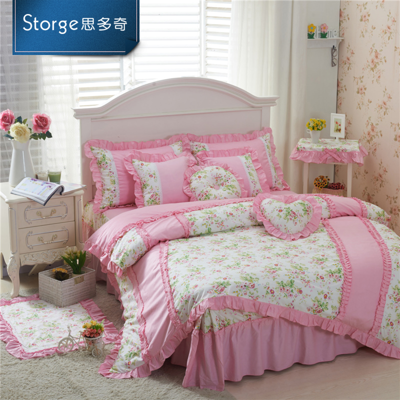 Storge/si duoqi korean cotton embroidered lace princess denim cotton kit m bedding js
