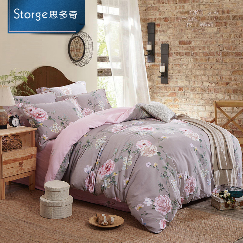 Storge/si duoqi positronic cotton velvet family of four brushed cotton bedding suite pastoral printing mc