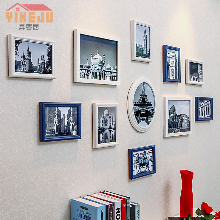 Stranger home simple european frame wood frame wall photo wall photo wall creative combination photo wall continental bedroom wall combination