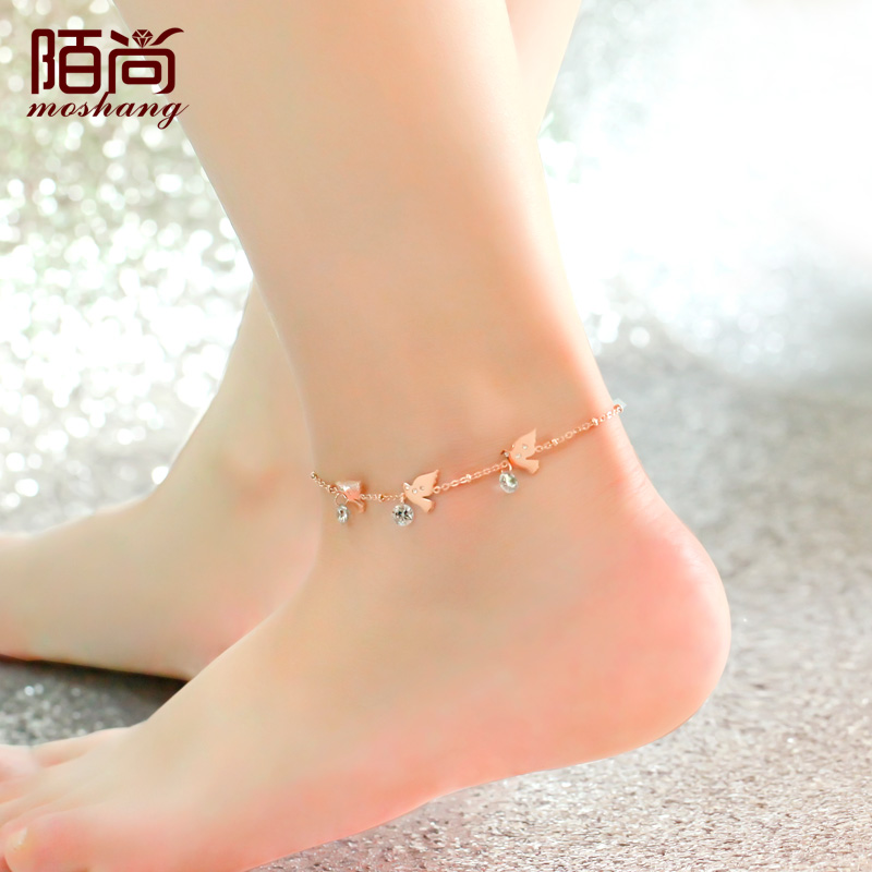 beads new store ankle gift sexy nice simple girls rose ladies anklets heart foot diamond product chain silver unique jewelry sterling for anklet women