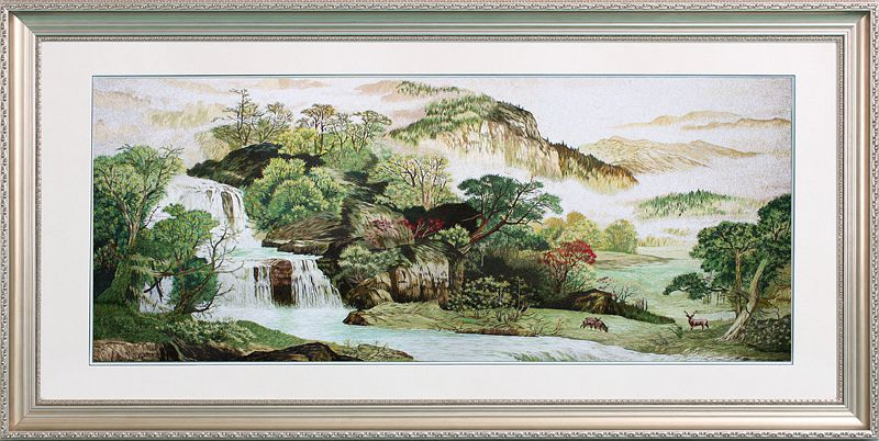 Su street family handmade embroidery embroidery finished painting the source headstream long non stitch decorative painting the living room landscape landscape