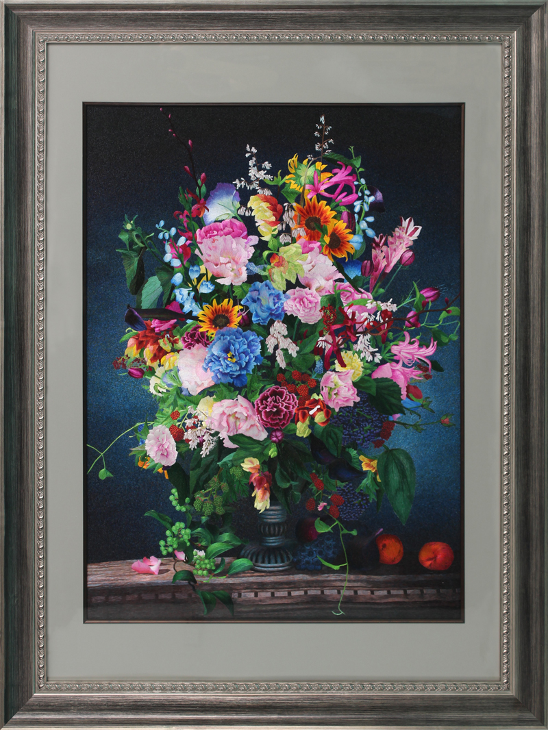 Su street family handmade embroidery finished embroidery peony flowers are blooming non cross stitch decorative painting 90054