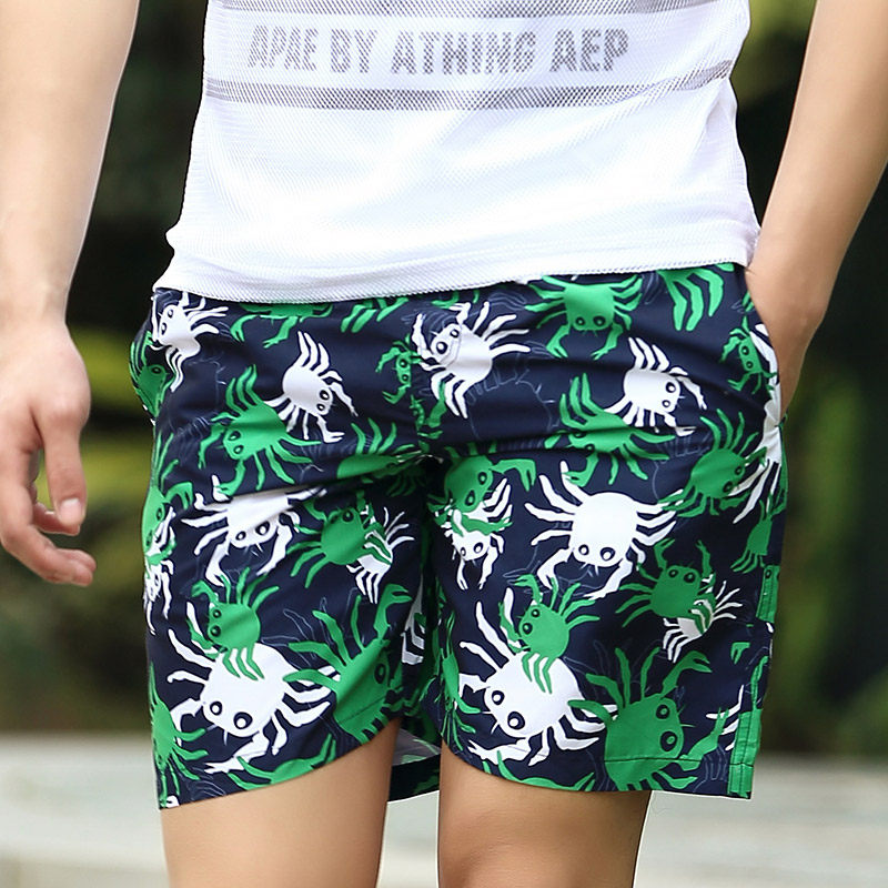 Sugan summer beach pants men thin section 35 transfer printing fifth boxer swim trunks beach pants tide loose pants