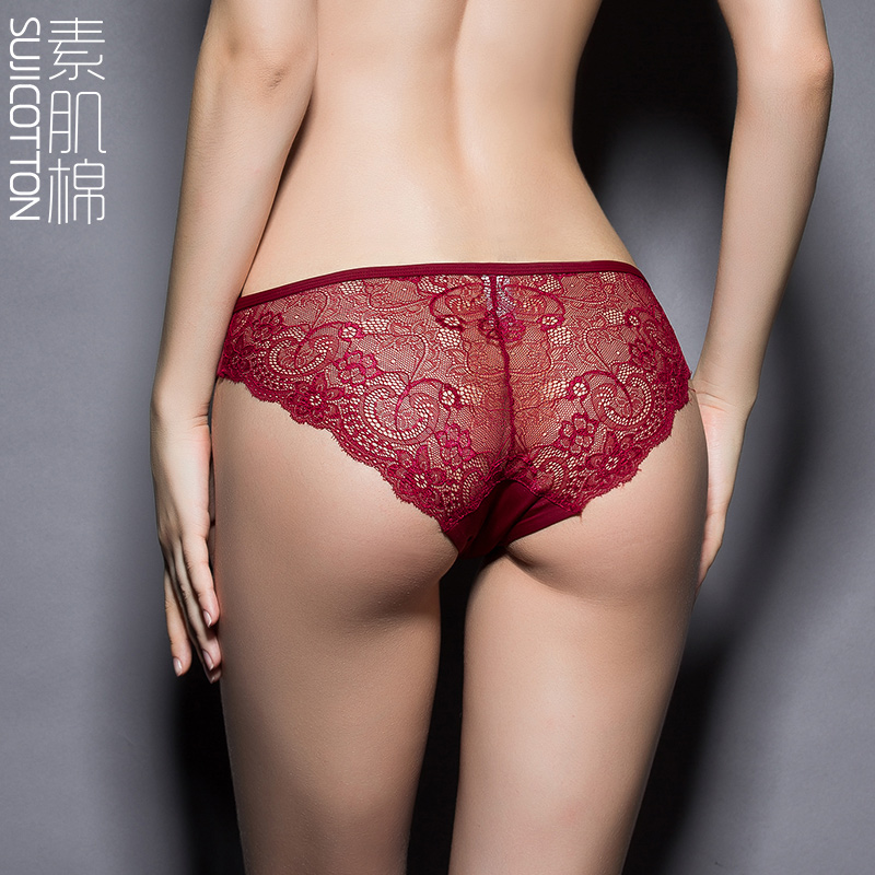 Suji cotton new 2015 luxury sexy lace cotton pants thin section seamless underwear genuine underwear hollow female summer