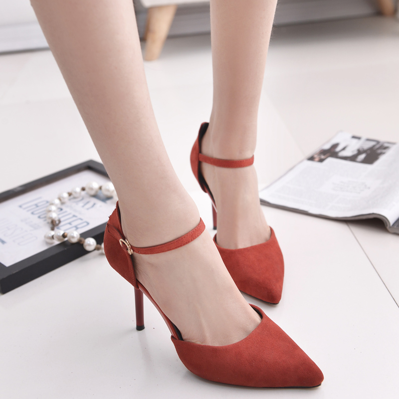 Summer and autumn 2016 pointed shoes fashion women's singles shoes wedding shoes red high heels fine with small size shoes strap shoes women black
