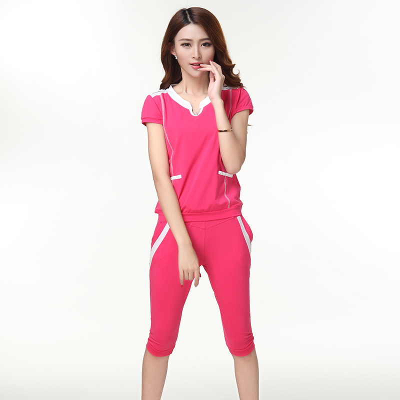 Summer and autumn korean women loose big yards short sleeve pant suit female summer sportswear leisure