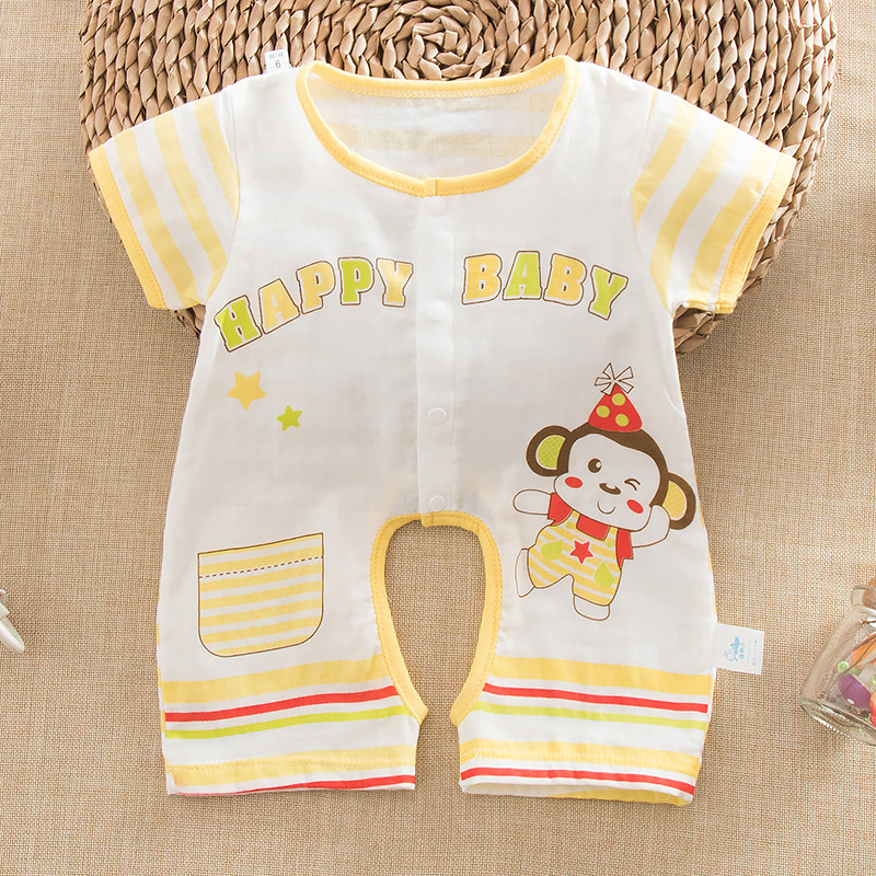 Summer baby cotton gauze gauze and a half sleeve short sleeve leotard open file romper baby coveralls open file romper jumpsuit