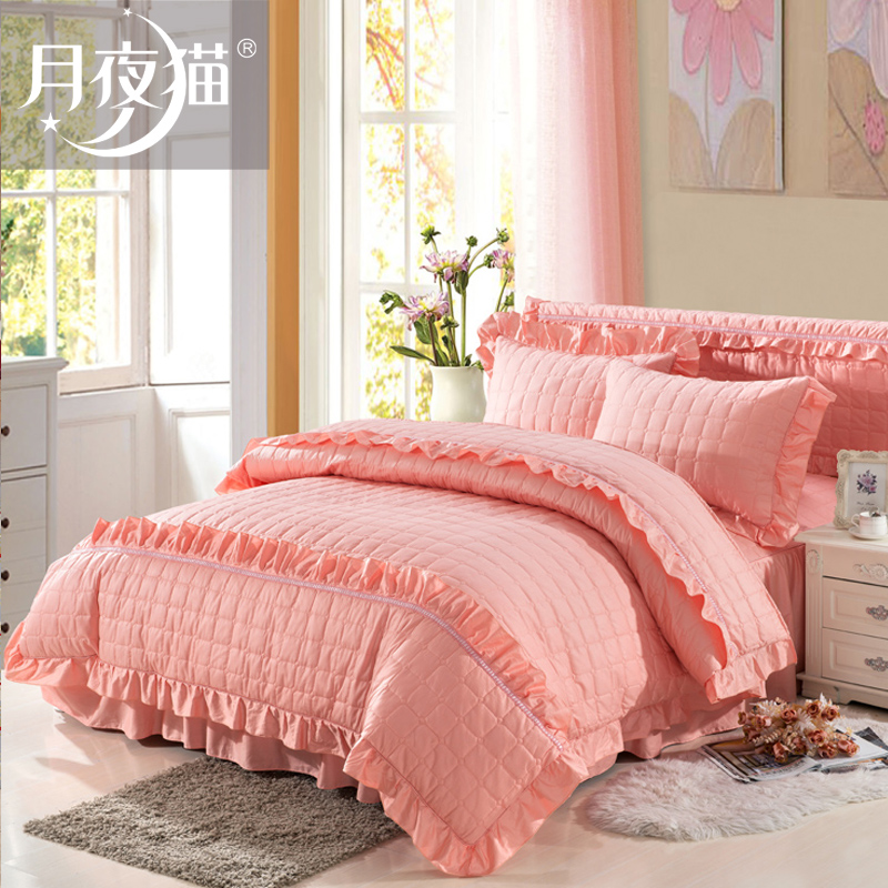 Summer korean version of the princess style thick quilted bedding wedding quilt korean plus cotton bedspread bed skirt a family of four