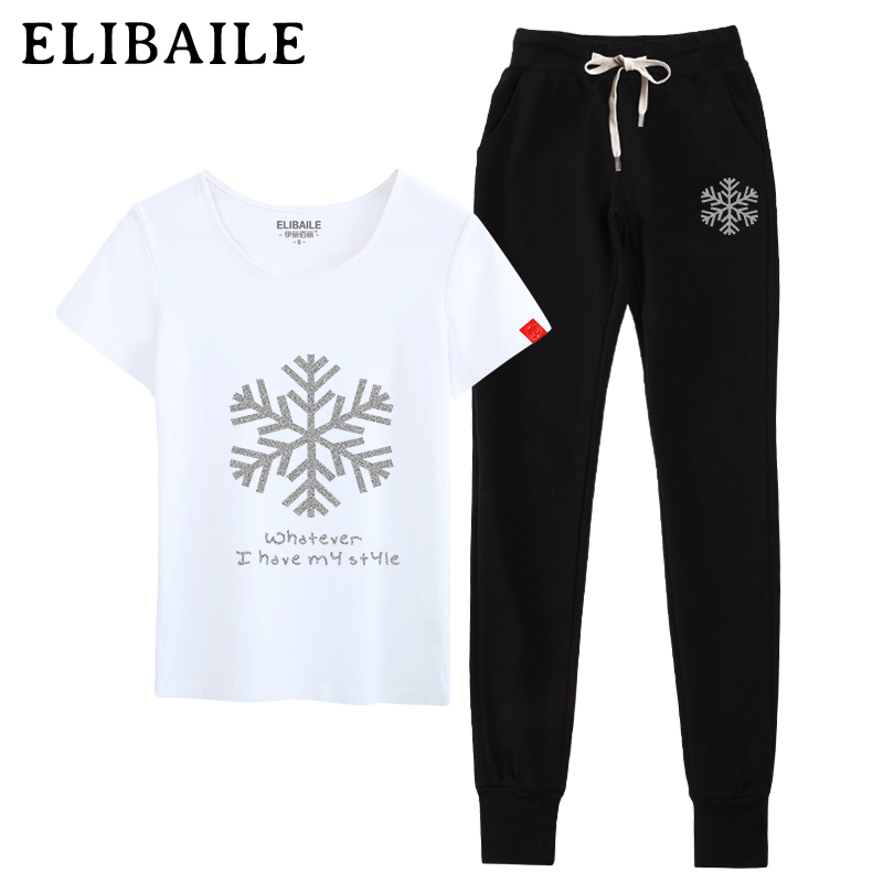 Summer leisure sports suit female student short sleeve t-shirt big yards loose trousers trousers thin section wei pants piece
