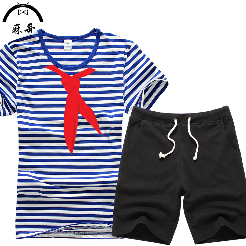 Summer male and female sea striped shirt shorts short sleeve t-shirt scarf pattern suits tourism activities clothes teenagers tide