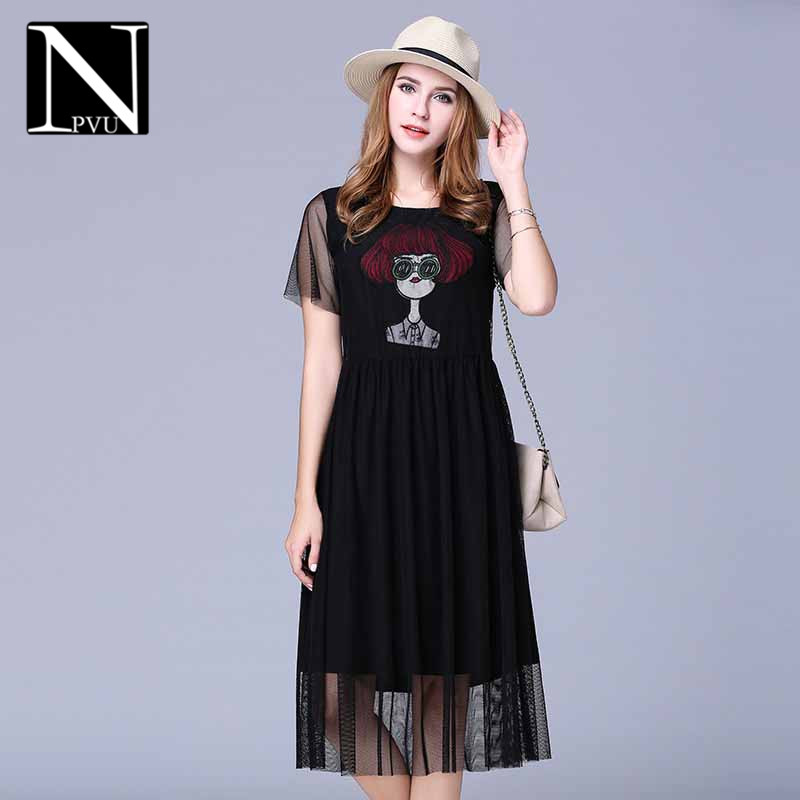 Summer new fashion cartoon NPVU2016 embroidered gauze stitching ms. slim was thin dress tide 7848