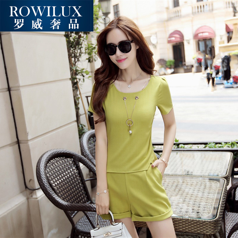 Summer new korean version of ROWILUX2016 solid temperament ladies fashion chiffon shirt sleeve piece shorts