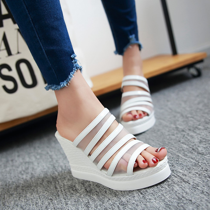 Summer new korean version of super high heels slope fish head with the word style sandals and slippers thick crust cool sandals casual beach shoes