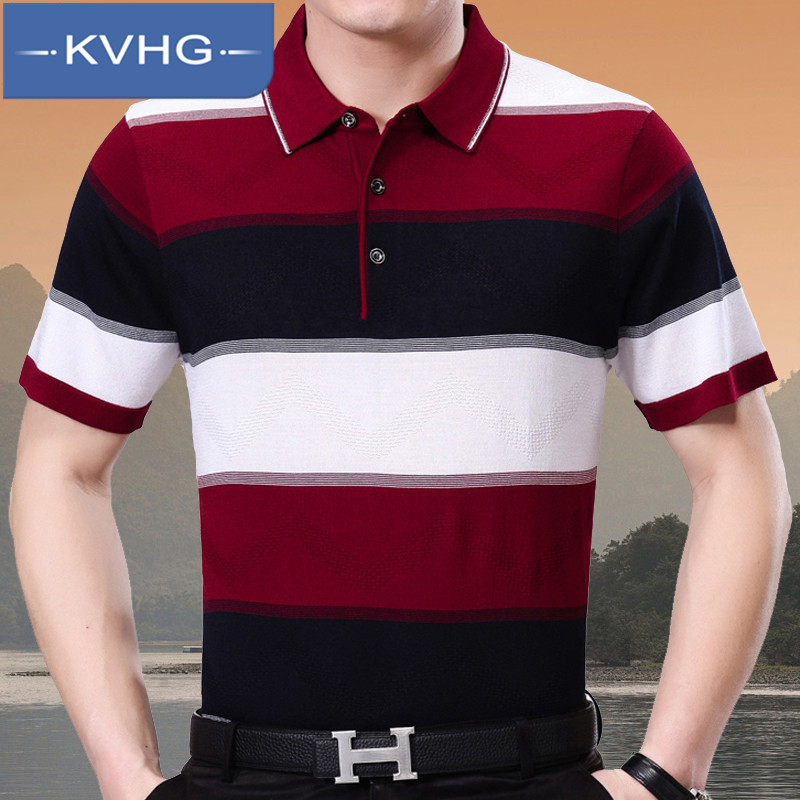Summer new middle-aged KVHG2016 iron business gentleman men's short sleeve t-shirt lapel striped t-shirt 7236