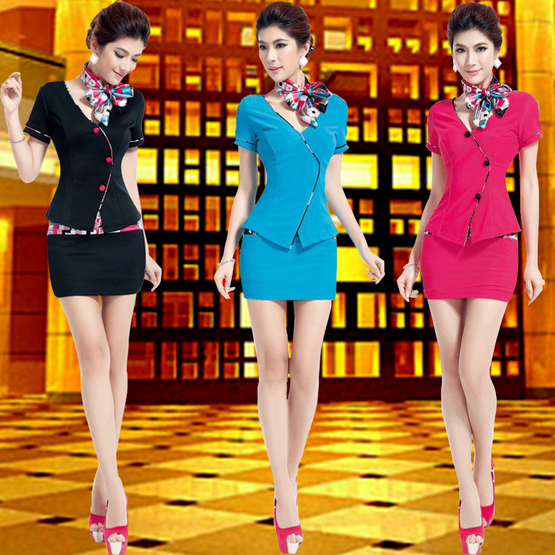 Summer new stewardess sauna beauty technician overalls suit hotel sauna foot bath technician overalls female