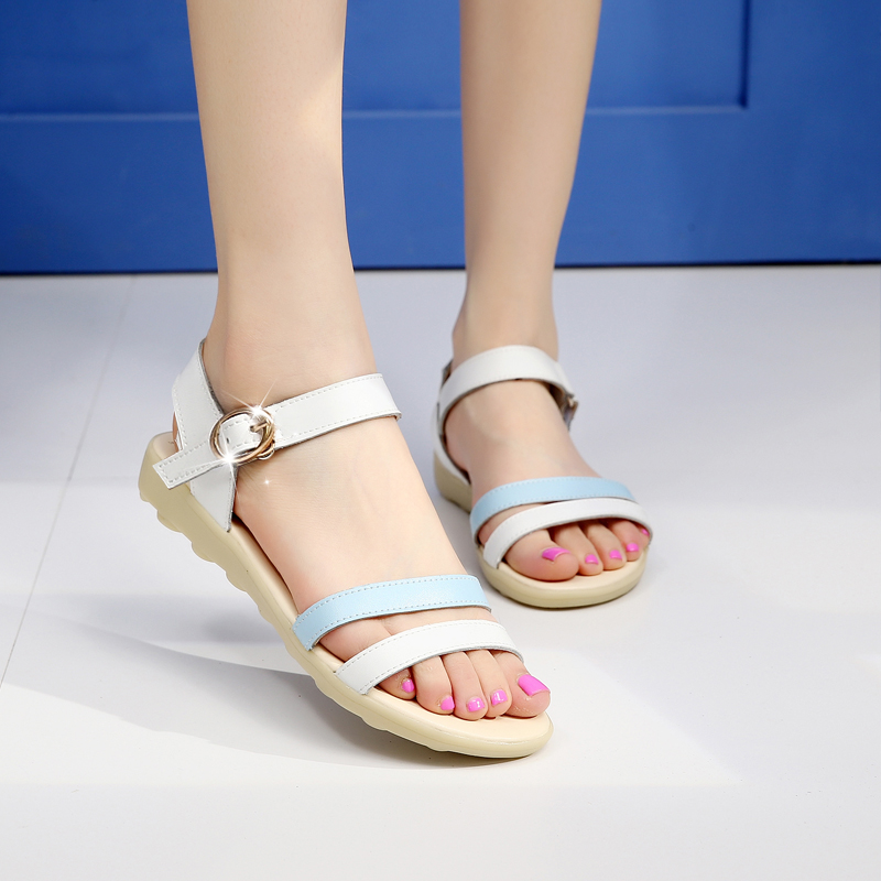 293417903ef336 Get Quotations · Summer new women leather flat sandals low heel flat shoes  for pregnant women sandals casual sandals