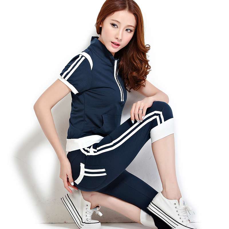 Summer sports suit female 2016 large size casual summer short sleeve pant sportswear piece female trousers with disabilities