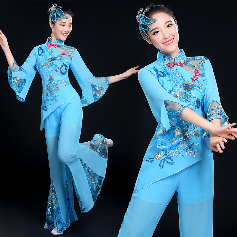 Summer square dance younger younger clothing 2016 new national modern dance costumes elderly waist drum fan dance performance clothing