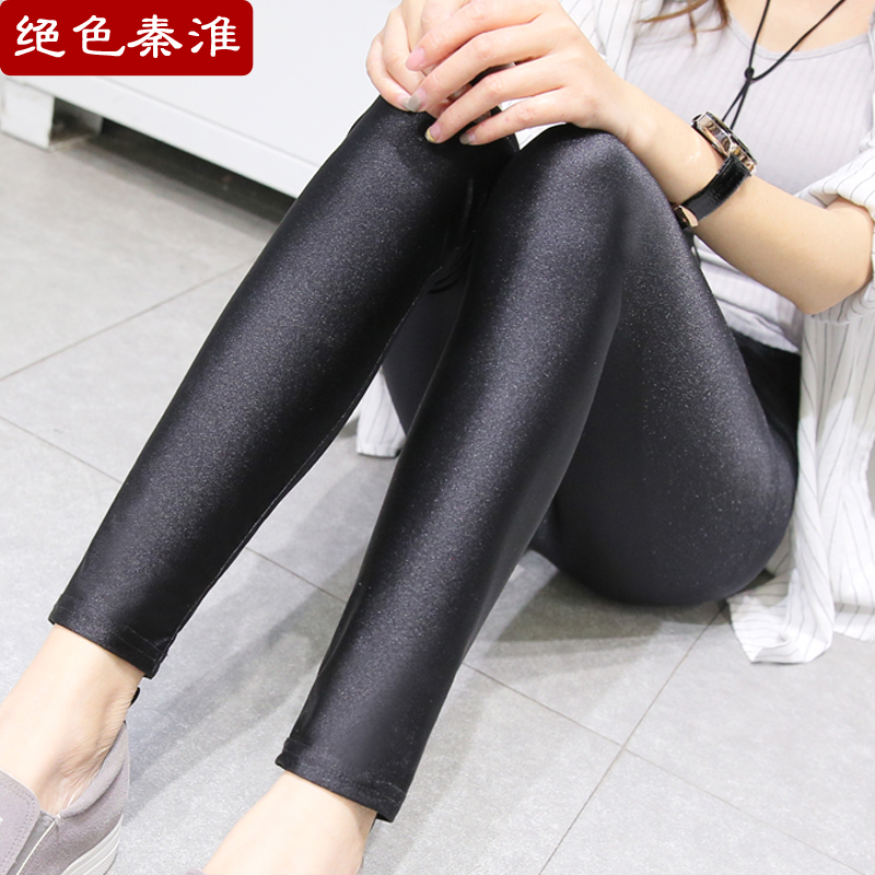 Summer stretch thin glossy leggings outer wear authentic 7 points black pants leggings pantyhose seventh