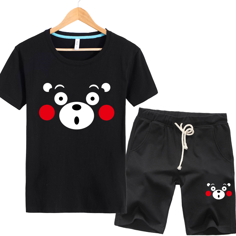 Summer thin section adolescent cartoon kumamoto bear clothes sweater tide male korean student short sleeve t-shirt suit