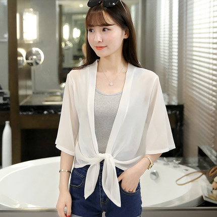 Summer thin section of small shawl chiffon shirt short sleeve loose coat female short paragraph sunscreen beach clothing air conditioning cardigan tide