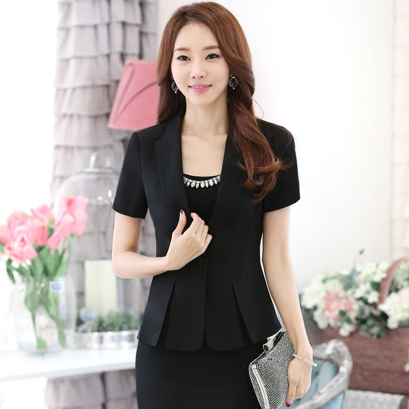 Summer wear women's dresses short sleeve slim was thin female white dress suit suit female hotel uniforms