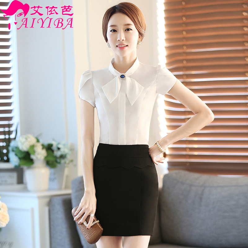 Summer wear women's skirt short sleeve white shirt female korean slim ol female positive wear overalls tooling shirt