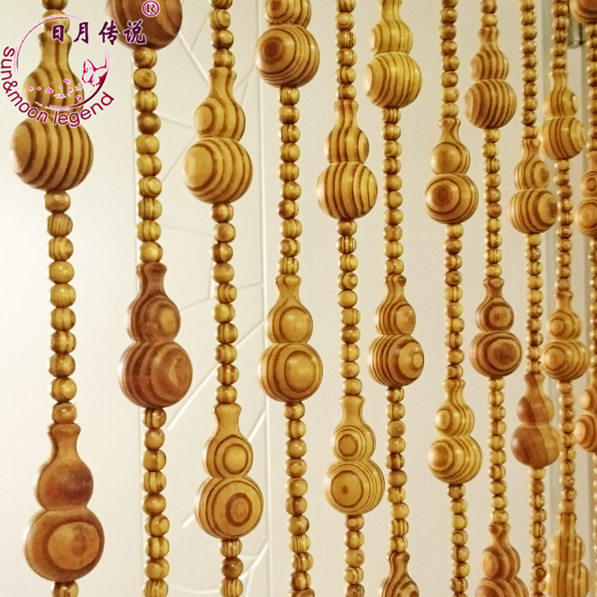 Sun and moon legend colophonium around the bead curtain feng shui gourd large pine without paint wood bead curtain feng shui wood bead curtain