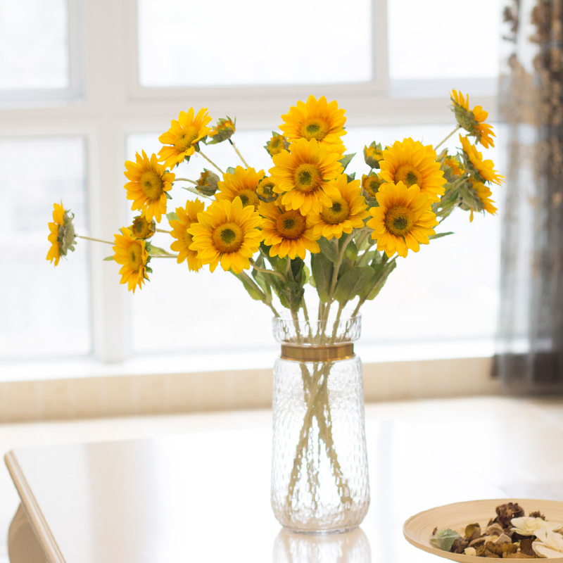 Sunflower high simulation flower plastic flower artificial flowers dried flower decoration living room bedroom dining table flower decoration flower garden