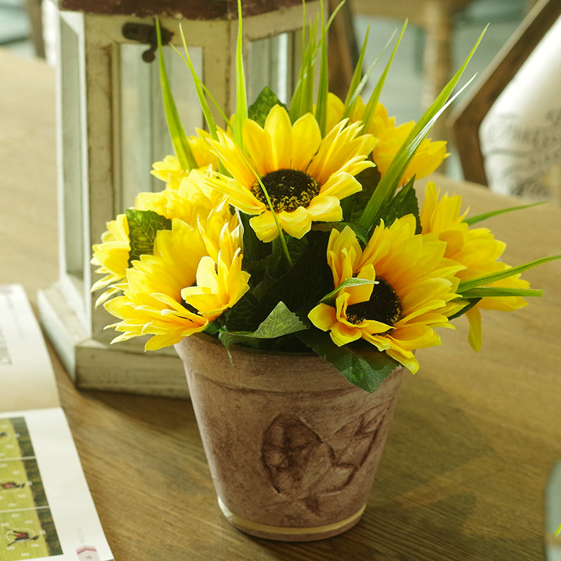 Sunflower sunflowers retro ceramic pots small potted artificial flowers artificial flowers suit home pendulum floral decoration