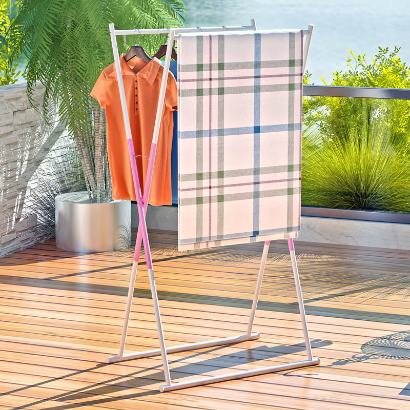 Suo ernuo rustproof double rod racks landing folding drying rack x multifunction balcony drying rack drying rack quilt