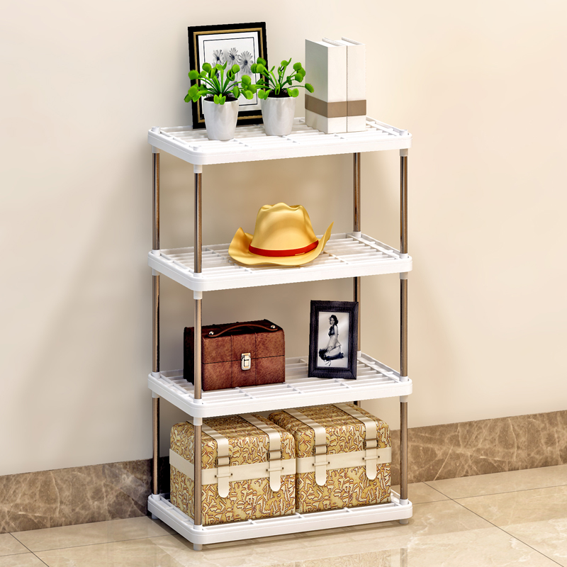 Suo ernuo shelving racks kitchen living room floor storage shelf plastic storage rack bathroom shelf finishing four