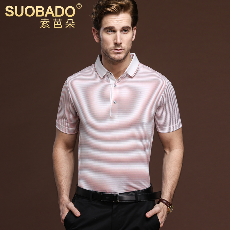 Suoba flower business casual men's silk knit silk striped t-shirt polo shirt t-shirt