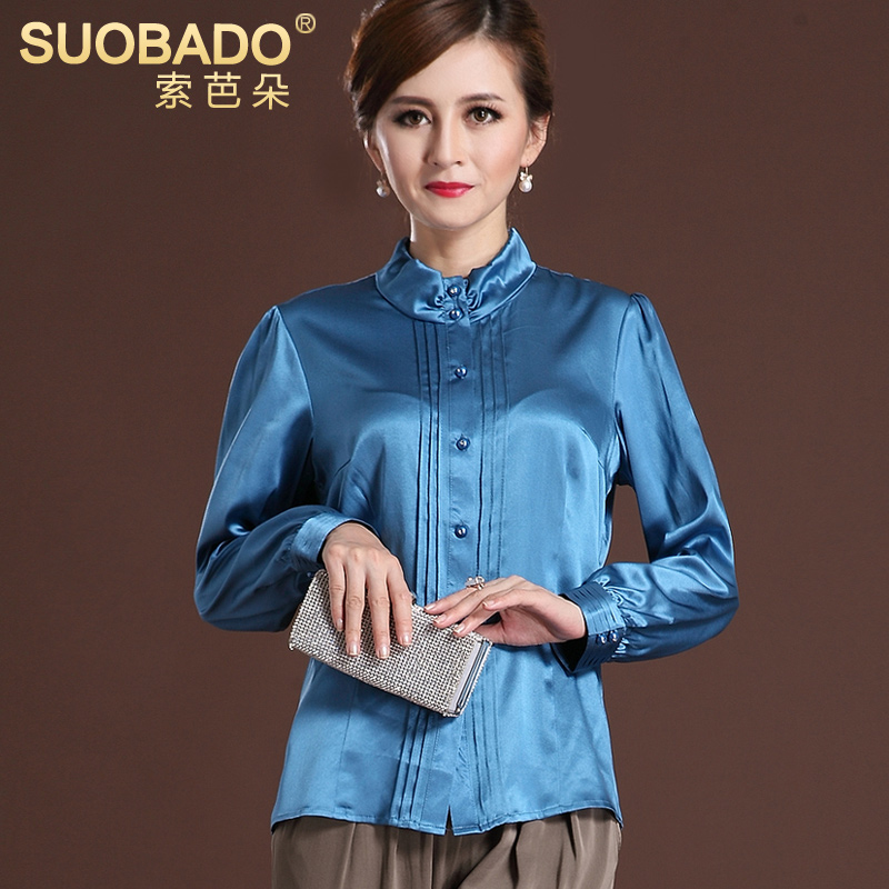 d1d113aba1bf85 Get Quotations · Suoba middle-aged mother dress silk satin blouse long  sleeve silk shirt heavy silk blouse