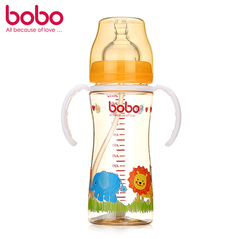 [Supermarket] lynx bobo happy children treasure ppsu automatic wide mouth bottle with straw handle BP632 orange