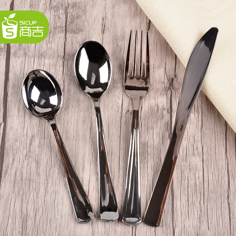 Suppliers kat creative imitation silver plating film disposable cutlery knife and fork spoon stainless steel long spoon fork 50 Only