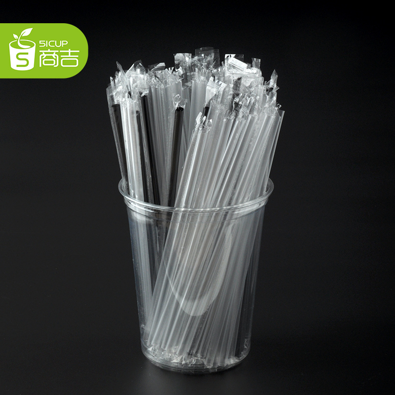 Suppliers kat individually wrapped in black long straight thin straw juice disposable plastic drinking straw straw 100 transparent