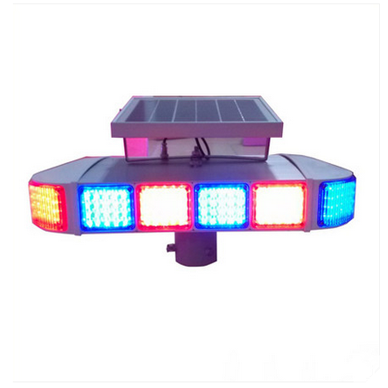 Surrounded by red and blue strobe lights solar flashlight solar lights solar traffic lights lights road lights indicate