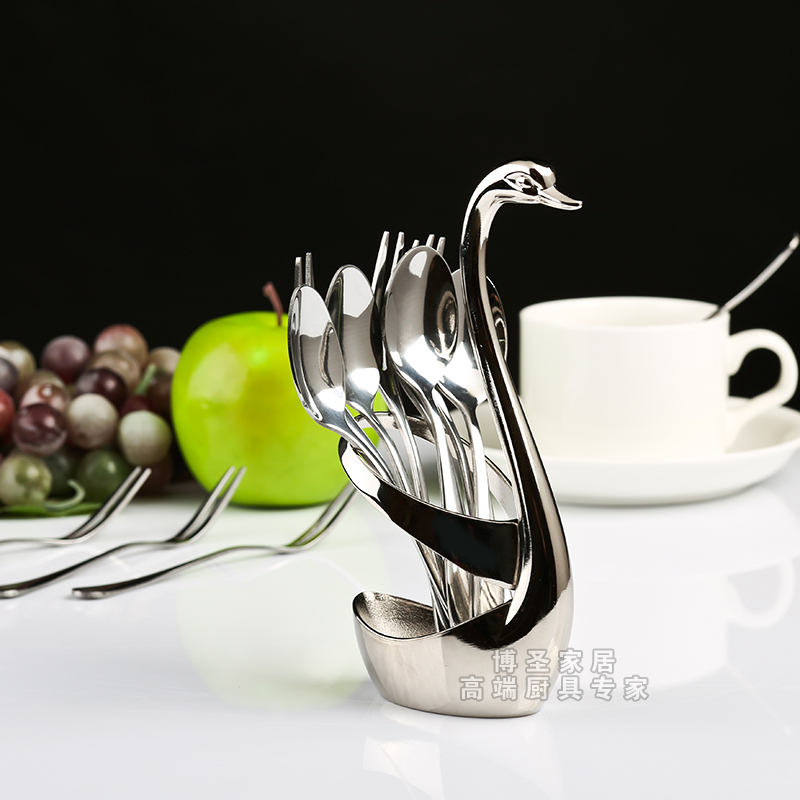 Swan swan swan cutlery holder creative metal stainless steel fruit fork spoon base