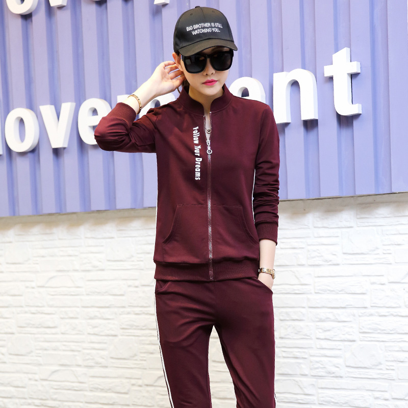 Sweater suit female spring and autumn influx of new men's casual sports clothes suit 2016 autumn new women long sleeve sweater dress fashion