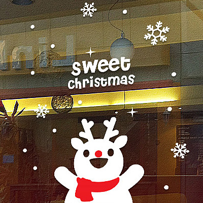 Sweet version of the deer elk snowflake snowman christmas new year wall stickers shop glass window wall sticker